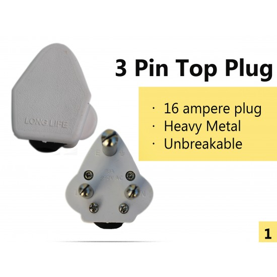 3 Pin Top Plug for Studio & Stage Lighting - Pack of 50