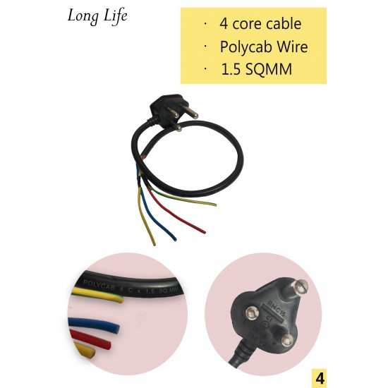 4 core moulded polycab cable / Black 16 Amp Power Extension Cord FOR STUDIO & STAGE LIGHTING