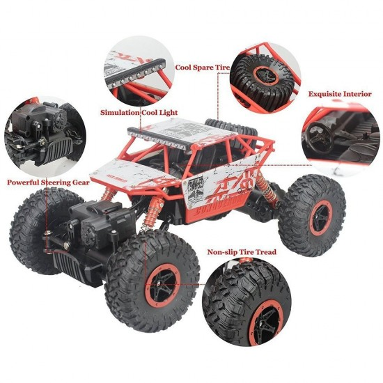 1:18 Rechargeable Rock Crawling 4WD 2.4 Ghz 4x4 Rally Car Remote Control Monster Truck Kids Play Toys (Red)