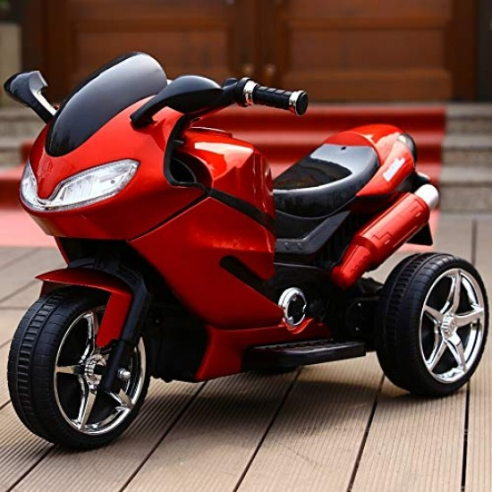 BuyFacturer 3-Wheel Kid Electric Bike with Rechargeable Battery Operated Ride-on for Kids for 2 to 6 Years (Wine Red)