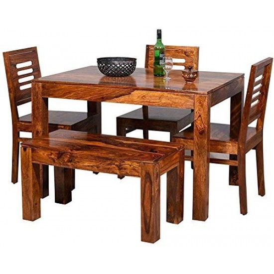 Torque - Aadvin Dining Table Set With 3 Chairs & 1 Bench for Living Room | Hotel & Dinner Restaurant.