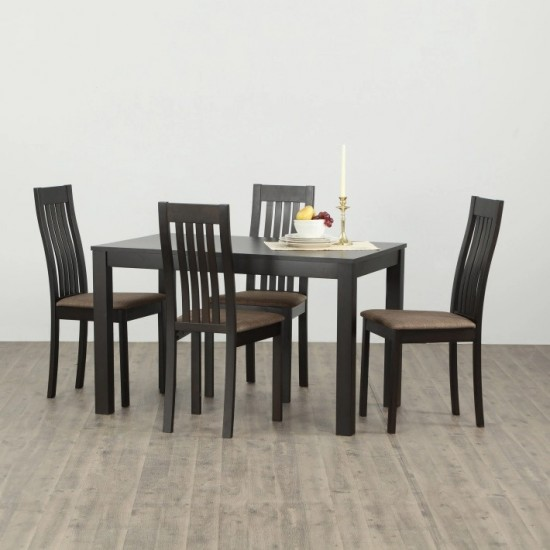 Torque - Marshall 4 Seater Dining Table with 4 Chairs & 1 Table (Beige Walnut Finish)