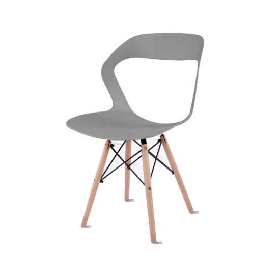 Torque - Aaron Modern Creative Chair With 2 Types Stand Variants For Cafeteria ( GREY - OLIVE)
