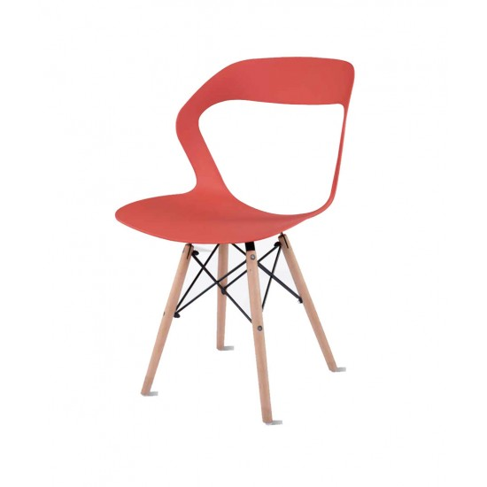 Torque - Aaron Modern Creative Chair With 2 Types Stand Variants For Cafeteria ( RED - OLIVE)
