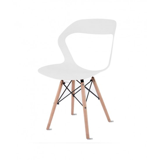 Torque - Aaron Modern Creative Chair With 2 Types Stand Variants For Cafeteria ( WHITE - OLIVE)