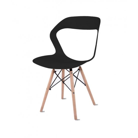 Torque - Aaron Modern Creative Chair With 2 Types Stand Variants For Cafeteria ( BLACK - OLIVE-1)