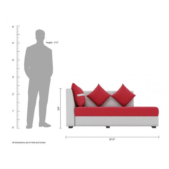 Torque - Jamestown 6 Seater L Shape Corner Sofa with Centre Table and Puffy (Red) (RHS)