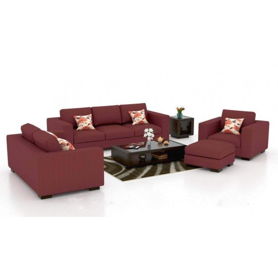 BuyFacturer Mendoza Sofa Set for Living Room & Dining Hall (3+2+1 )Standard Size ( Fabric - Red)