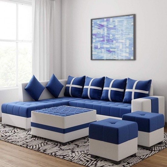 Torque - Jamestown 6 Seater L Shape Corner Sofa with Centre Table and Puffy (Blue) (LHS)