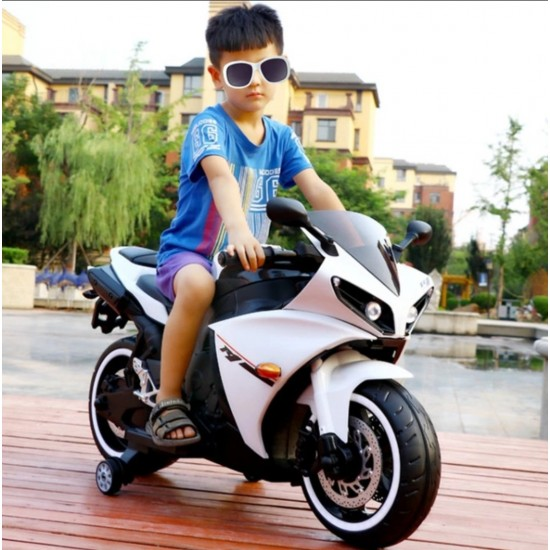 BuyFacturer Kids R15 battery operated Electric Bike (White)
