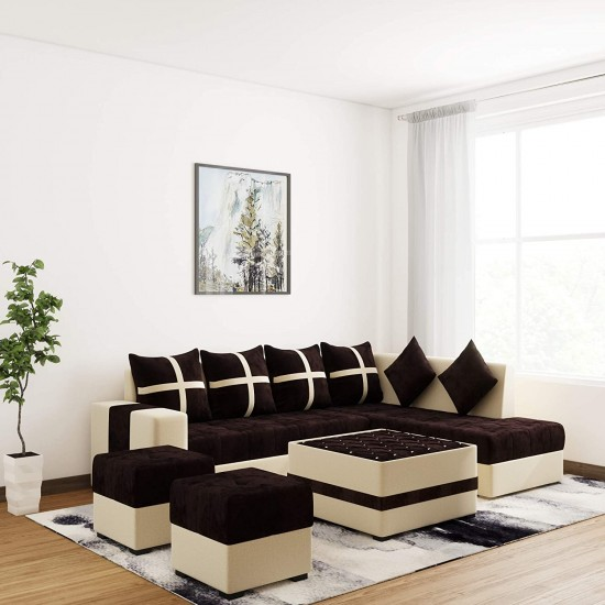 Torque Boston Brown Full Sofa Set with Center Table and 2 Puffies (Multicolor) (8 * 6, Brown)