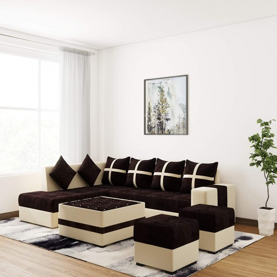 Boston Brown Full Sofa Set with Center Table and 2 Puffies (Multicolor) (8 * 6, Brown) (LHS)