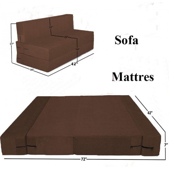 BuyFacturer Sofa Cum Bed 3x6 One Seater Sleeps & Comfortably Perfect for Guests Brown Color