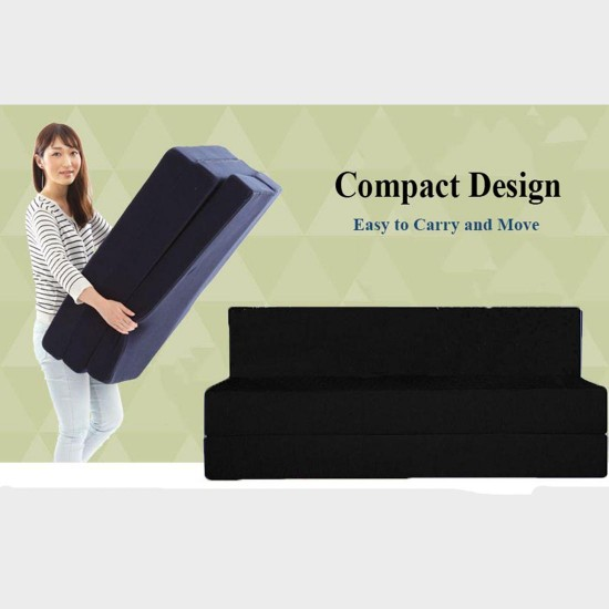 BuyFacturer Sofa Cum Bed 4x6 two Seater Sleeps & Comfortably Perfect for Guests Black Color