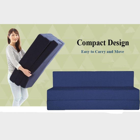 BuyFacturer Sofa Cum Bed 3x6 One Seater Sleeps & Comfortably Perfect for Guests Blue Color